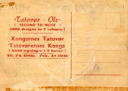 Tatovor Ole Copenhagen postcard [backside]